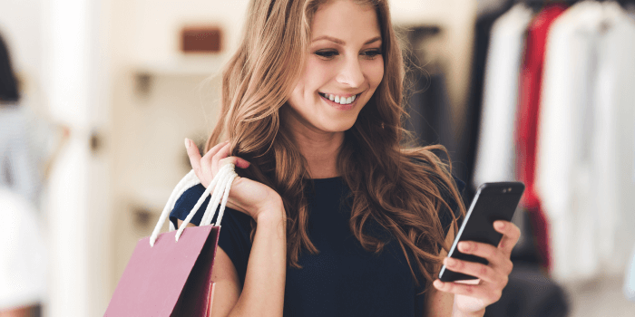 Female Customer in Retail Store on Mobile