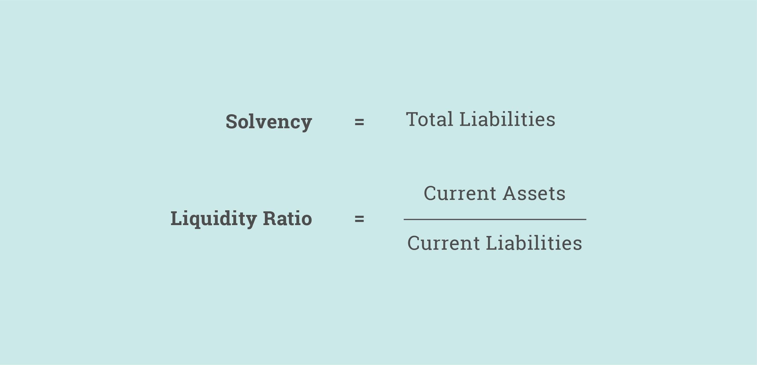 Solvency and Liquidity Ratio Formulas